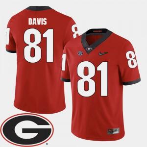 Red Reggie Davis UGA Jersey For Men's 2018 SEC Patch #81 College Football 609845-974