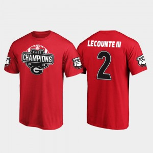 2019 SEC East Football Division Champions Mens Red Richard LeCounte III UGA T-Shirt #2 376650-364