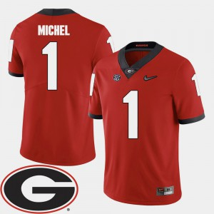 Red For Men's Sony Michel UGA Jersey College Football #1 2018 SEC Patch 316719-281
