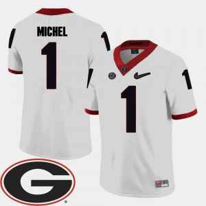 College Football 2018 SEC Patch #1 Sony Michel UGA Jersey White Men 747181-326