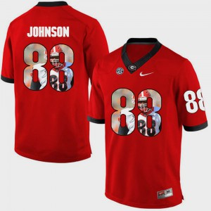 Pictorial Fashion Men's #88 Red Toby Johnson UGA Jersey 985003-165