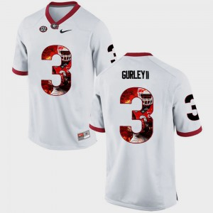 Pictorial Fashion White Mens #3 Todd Gurley II UGA Jersey 188493-326