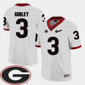 #3 2018 SEC Patch White College Football Todd Gurley UGA Jersey Men's 711025-610