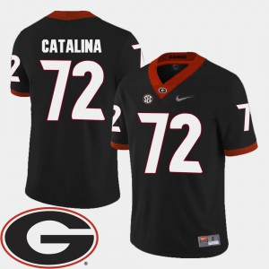 College Football Tyler Catalina UGA Jersey For Men's #72 2018 SEC Patch Black 709593-553