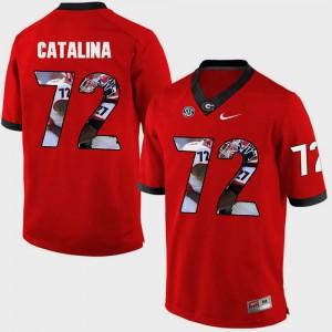 Pictorial Fashion Red #72 Tyler Catalina UGA Jersey Men's 639515-487