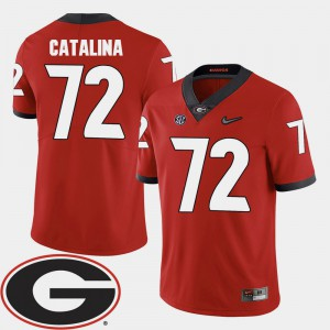 #72 Red Mens College Football Tyler Catalina UGA Jersey 2018 SEC Patch 556551-500