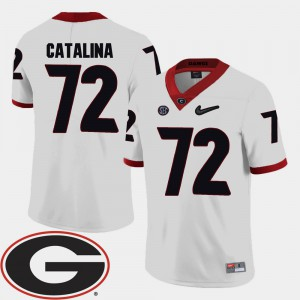 Tyler Catalina UGA Jersey 2018 SEC Patch White For Men's College Football #72 667182-529