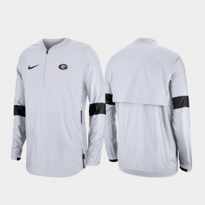 White Men's UGA Jacket 2019 Coaches Sideline Quarter-Zip 295043-209