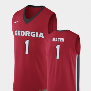 Men College Basketball Yante Maten UGA Jersey Red Replica #1 691345-787