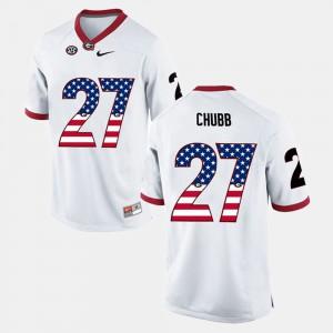 US Flag Fashion #27 White Men's Nick Chubb UGA Jersey 196827-220