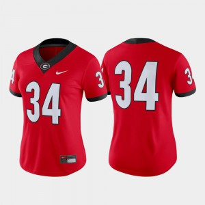 College Football UGA Jersey Red Women #34 Game 550432-191