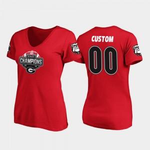 2019 SEC East Football Division Champions V-Neck #00 Womens Red UGA Custom T-Shirts 462204-261