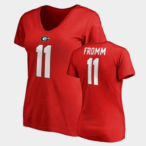 Jake Fromm UGA T-Shirt For Women Red College Legends Name & Number V-Neck #11 683136-317