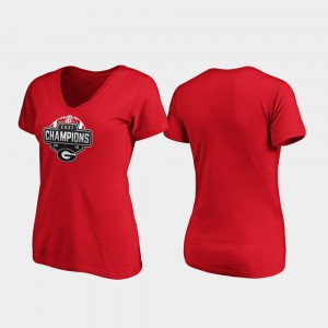 2019 SEC East Football Division Champions Red UGA T-Shirt V-Neck Womens 427939-853